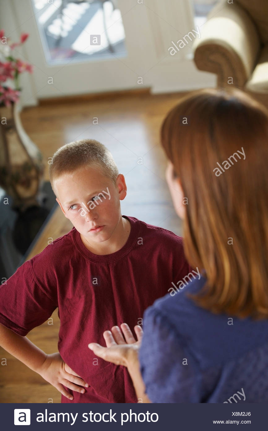 A Boy Arguing With His Mother - Stock Image