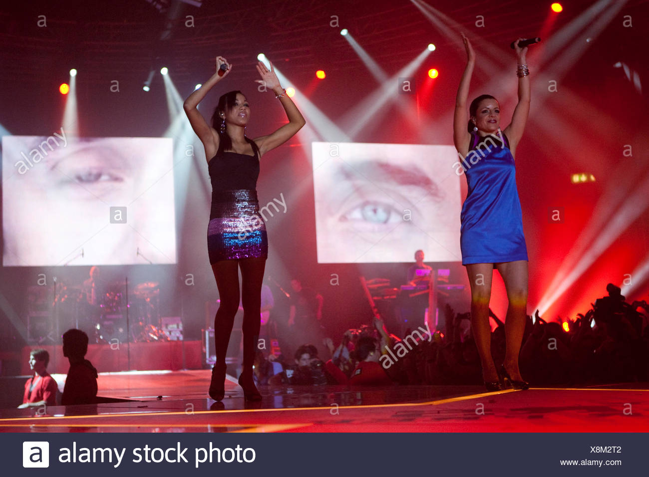 Karina Fernandez and Jizelle, backround singers of the Swiss soul singer Seven live at the Energy Stars For Free event at the - Stock Image