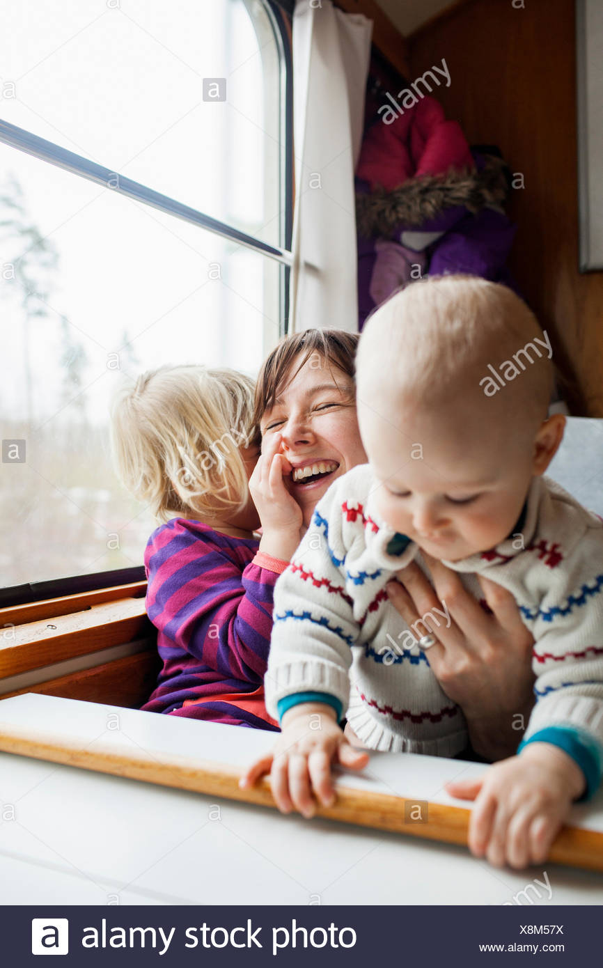 Sweden, Mother and children (12-17 months, 2-3 years) - Stock Image