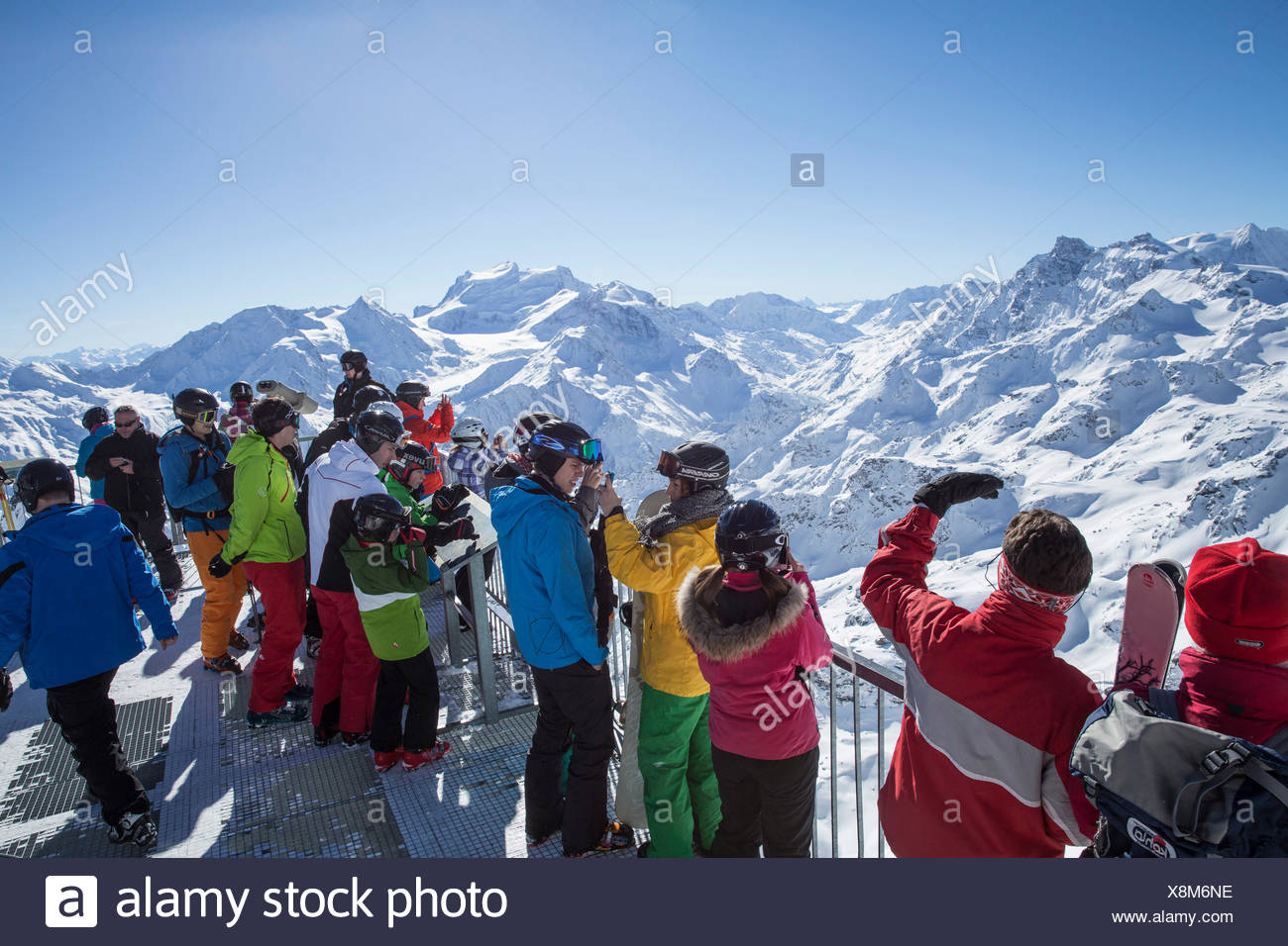Mont fort, view, Mont fort, Grand Combin, winter, canton, VS, Valais, mountain, mountains, mountain road, Switzerland, Europe, p Stock Photo