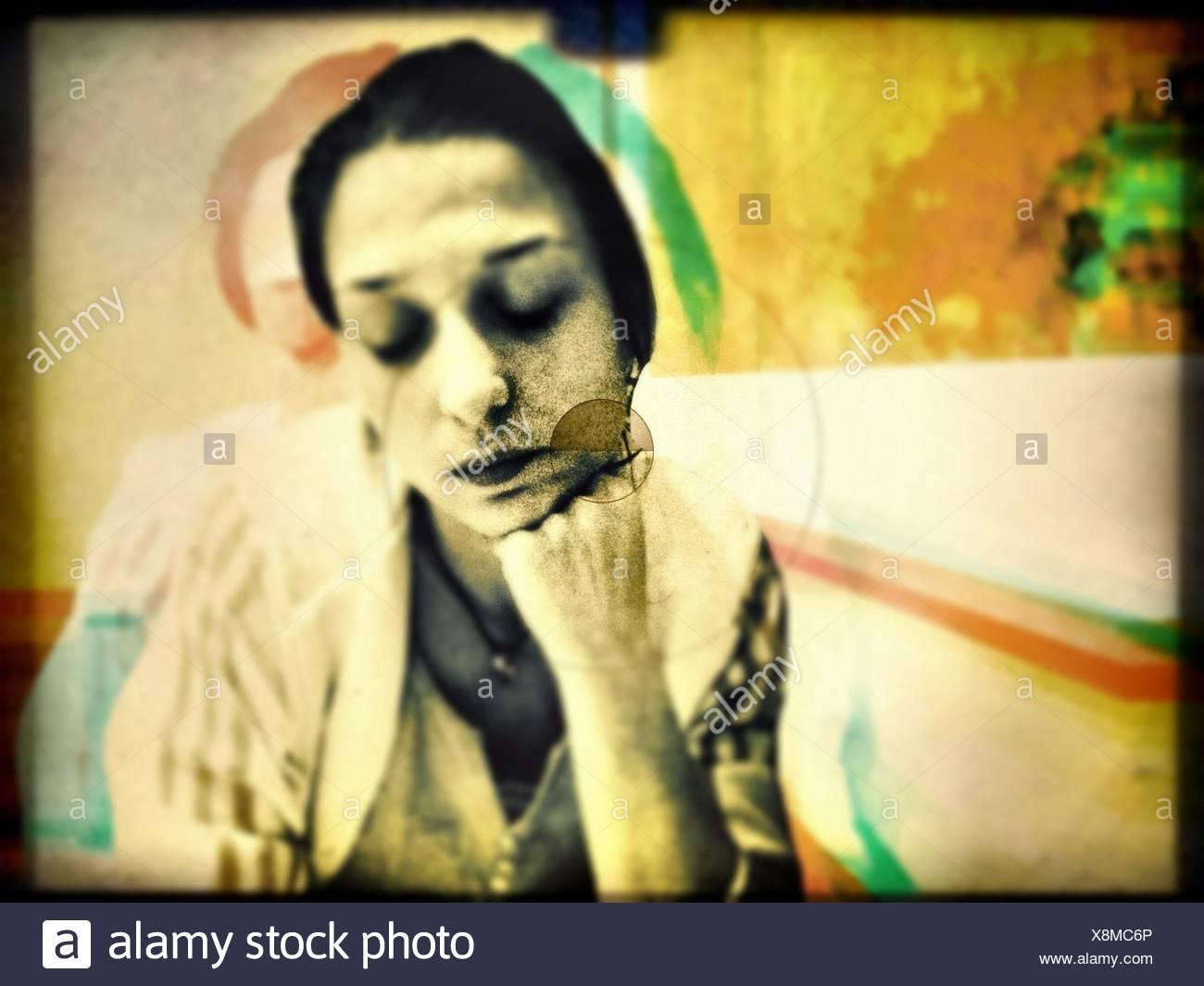 Portrait Of Pensive Woman - Stock Image