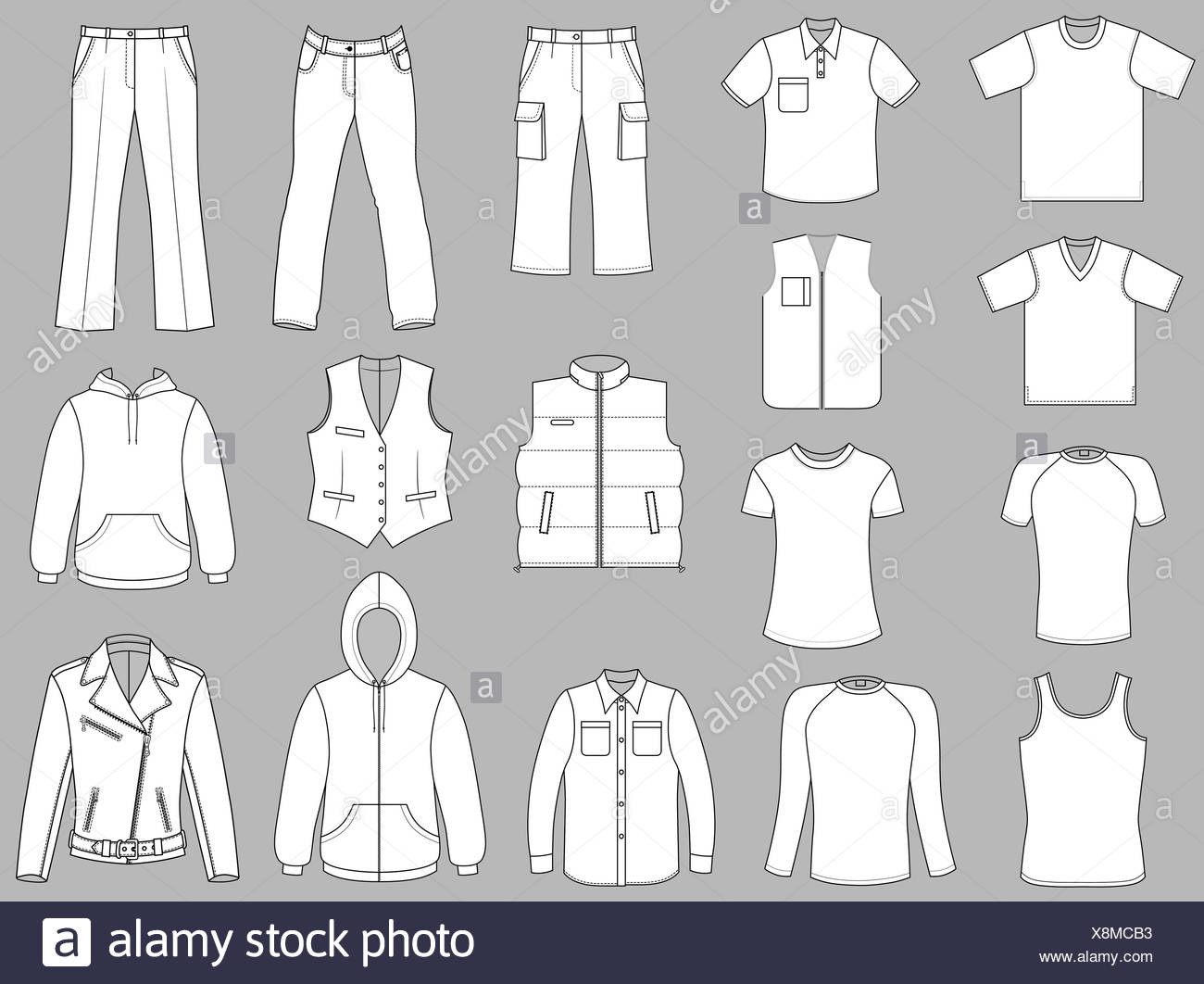 Man clothes greyscale collection isolated on grey - Stock Image