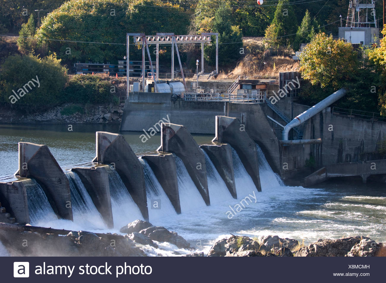 Savage Rapids Dam, which is slated to be removed from the Rogue River. - Stock Image