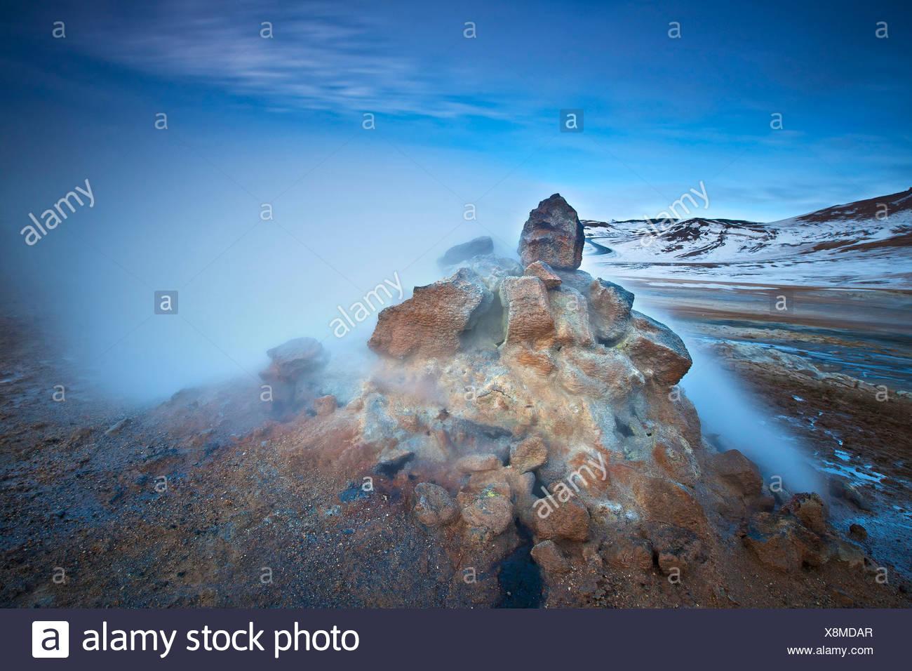 solfatara in geothermal field of Namaskard, Iceland, Namaskard Stock Photo