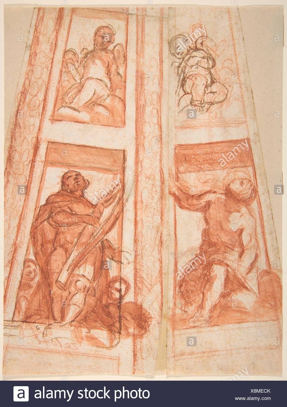 Design for the Decoration of a Cupola with a Prophet, King David and Two Putti. Artist: Mattia Preti (Il Cavalier Calabrese) (Italian, Taverna - Stock Image