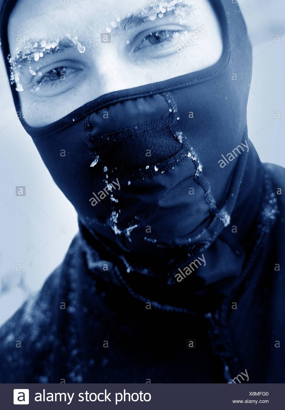 man in ski mask Stock Photo