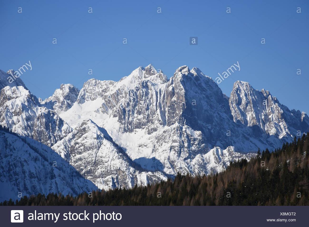 lienz dolomites,winter,rocks,mountains,cliff,snow,ice,snow Stock Photo