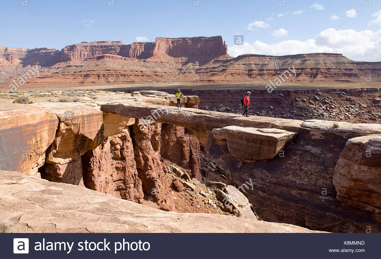 Two hikers wander onto the flat Musselman Arch along the White Rim Road canyonlands national Park, Utah - Stock Image