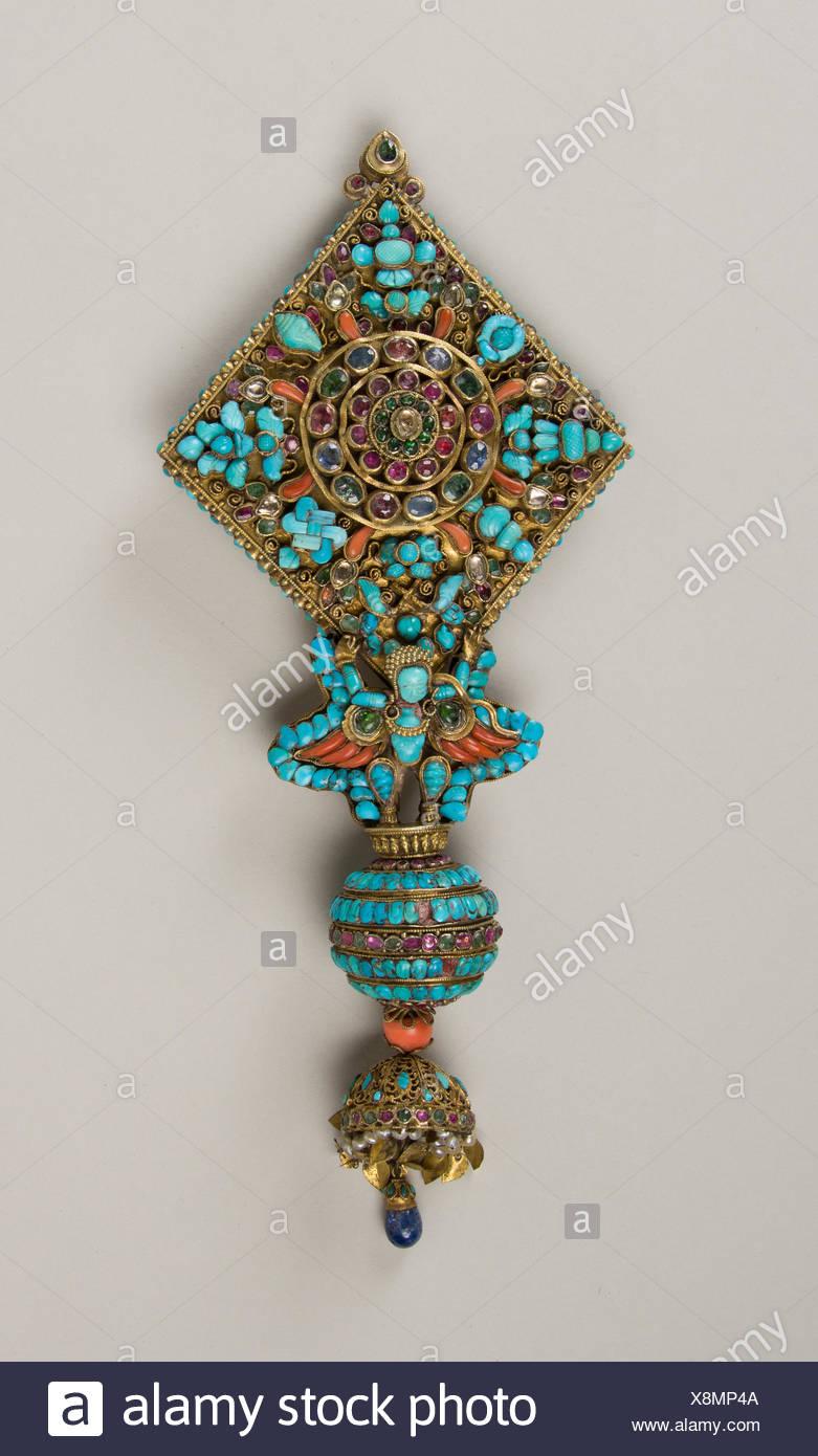 Ear Ornament for a Deity. Date: 17th-19th century; Culture: Nepal; Medium: Mercury, gilt silver, rubies, emeralds, sapphires, lapis lazuli, coral, Stock Photo