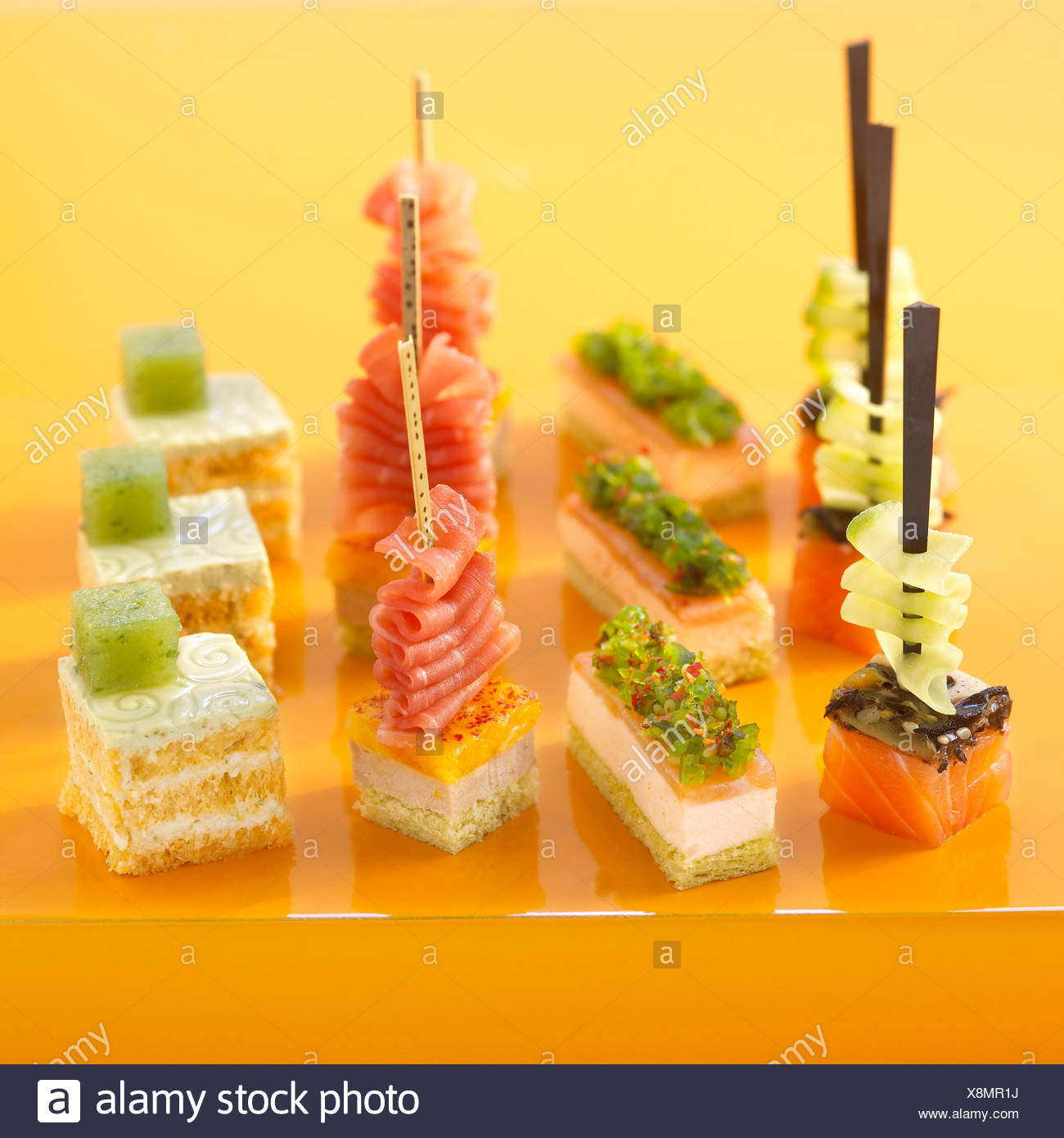Bite-size appetizers - Stock Image