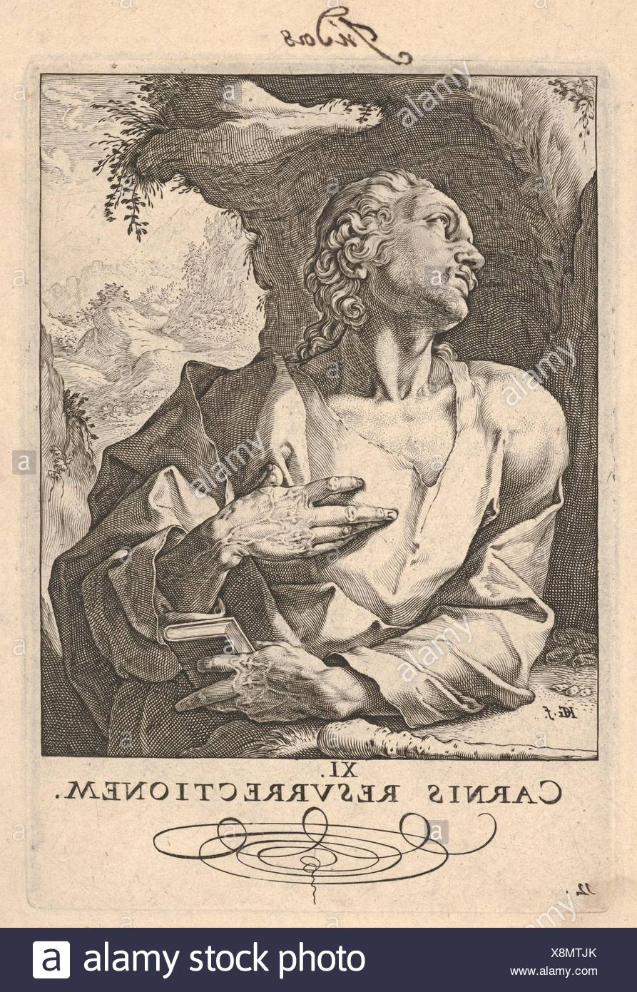 St. Jude Thaddeus, from Christ, the Apostles and St. Paul with the Creed. Series/Portfolio: Christ and the Apostles; Artist: Hendrick Goltzius - Stock Image