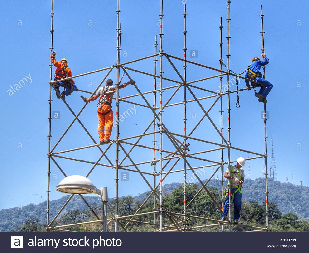 Workers On Scaffolding - Stock Image