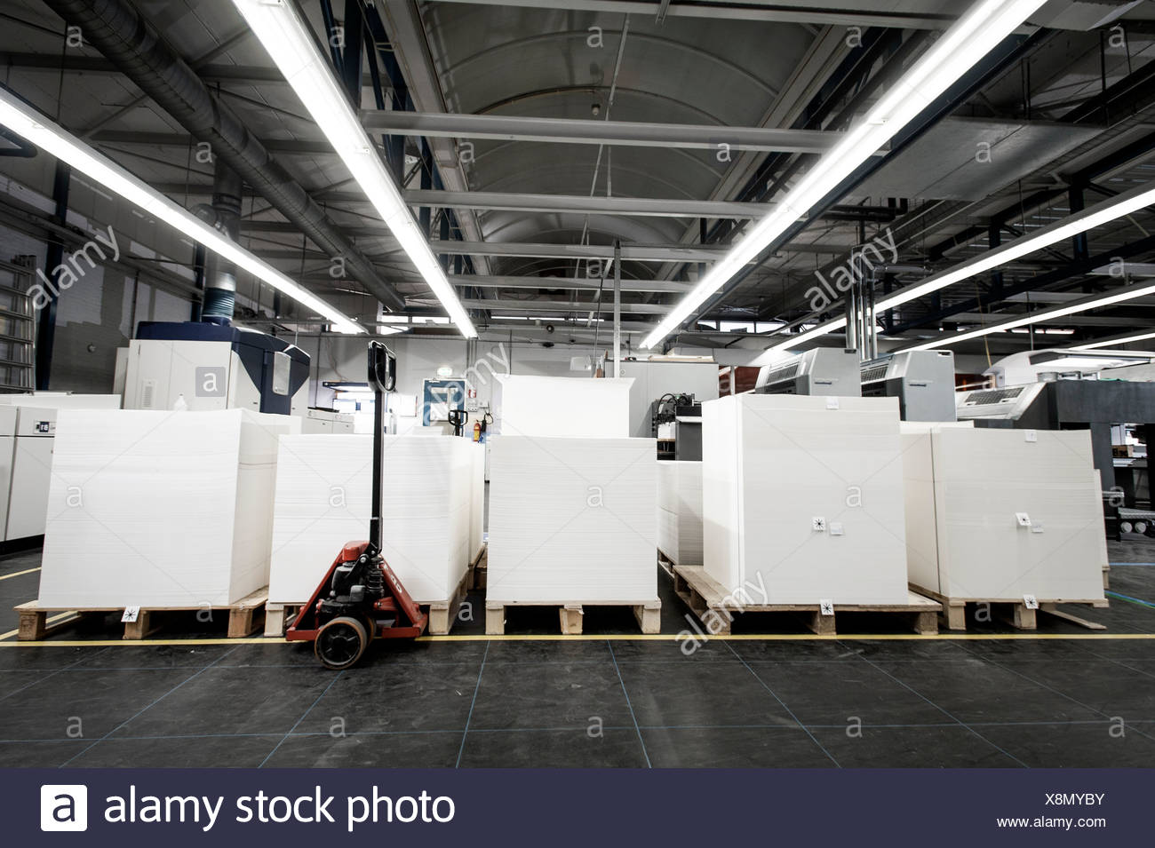 Pallets of paper in printing warehouse - Stock Image