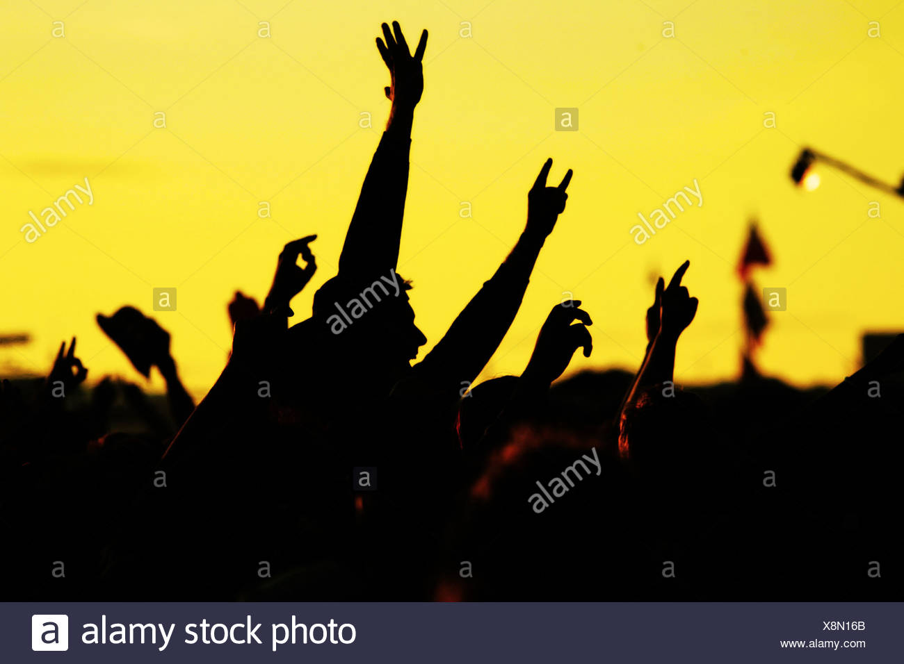 popular music concert,audience,ecstatic,outdoors event - Stock Image