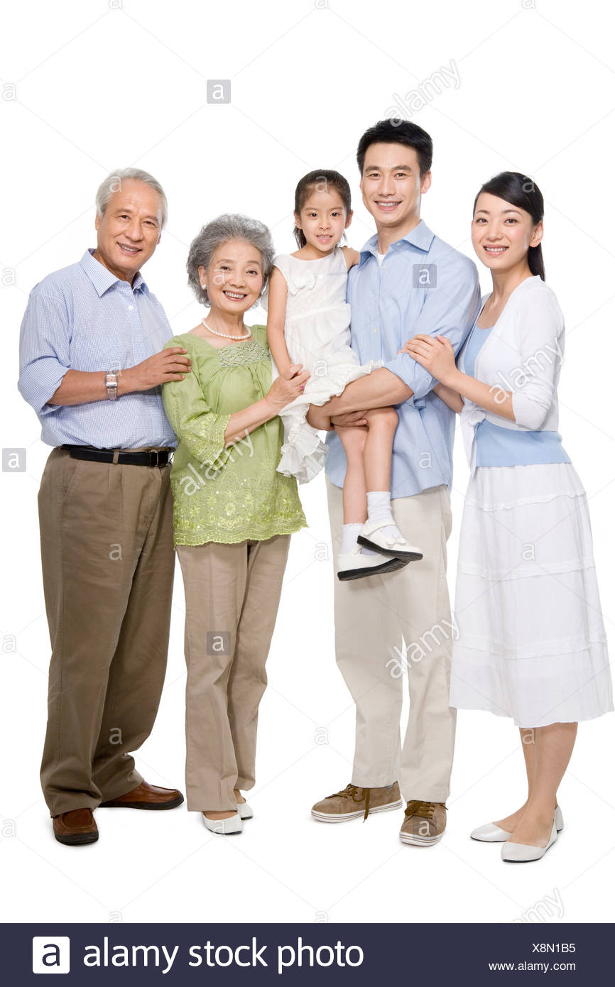 Portrait of a multi-generation family - Stock Image
