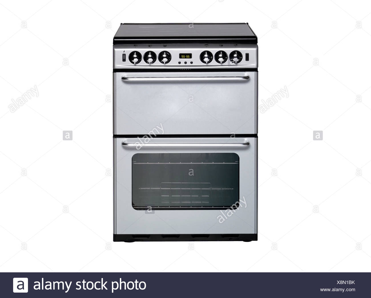white gas cooker over the white background - Stock Image