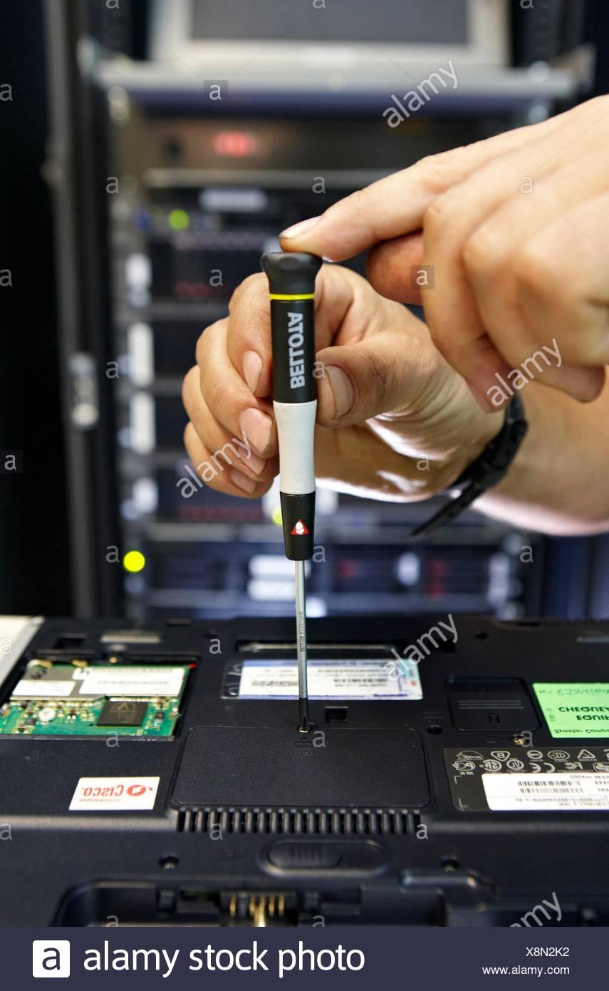 Precision screwdriver, computer maintenance - Stock Image