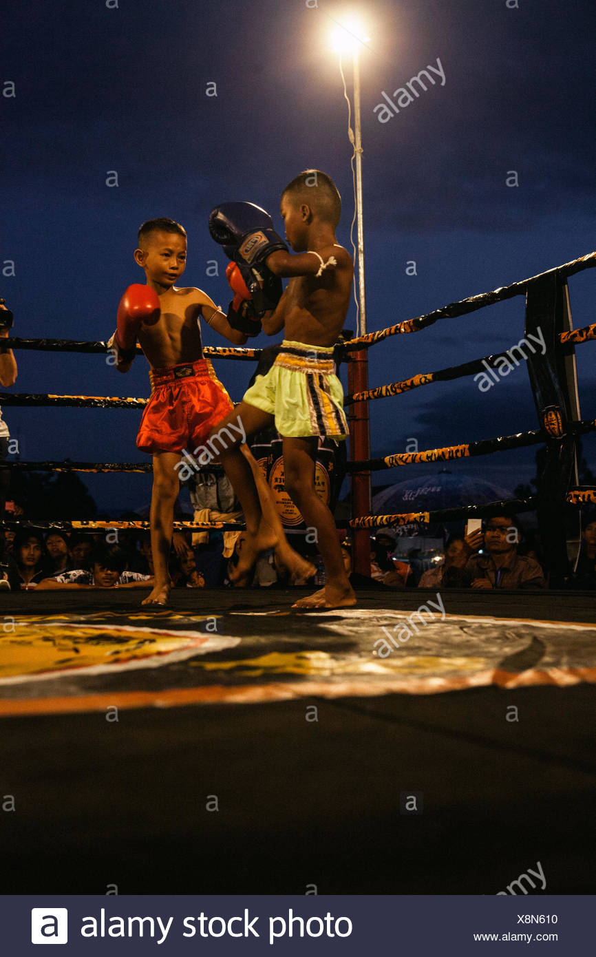 Young Kun Khmer fighters at a boxing ring. - Stock Image