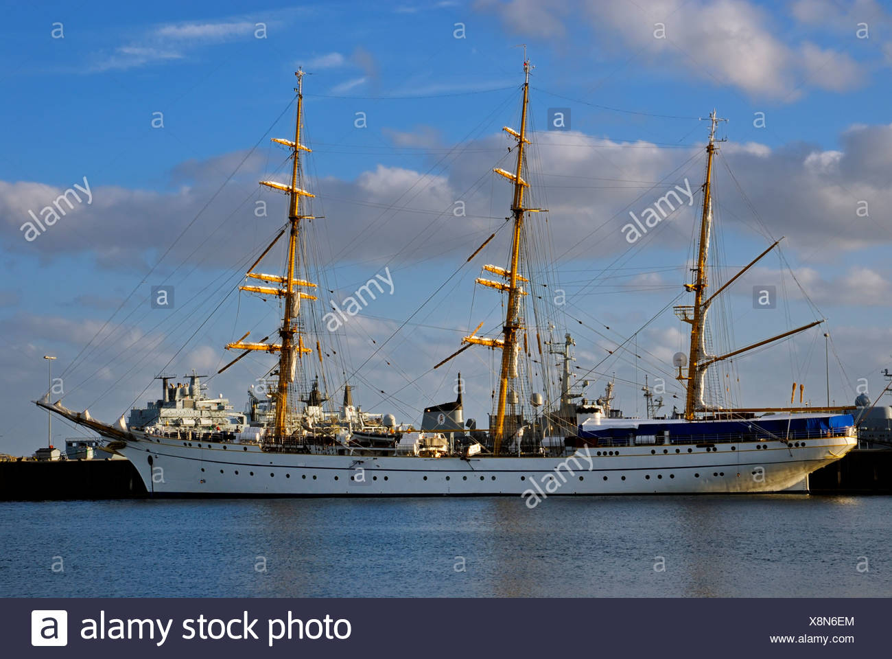 Tall Ship from the German navy, Gorch Fock in the harbour, Kiel Week 2008, Kiel, Schleswig-Holstein, Germany, Europe - Stock Image
