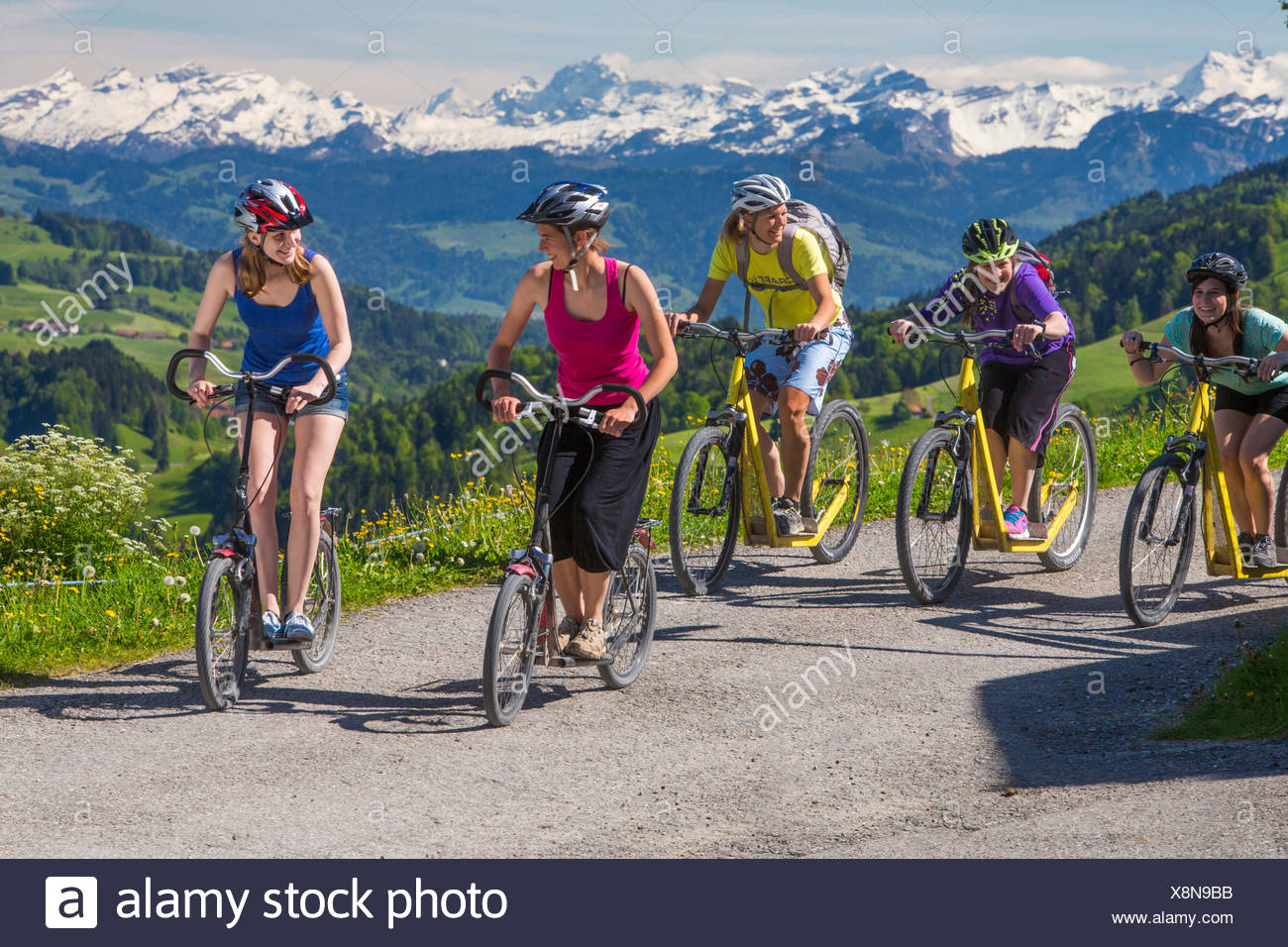Zurich uplands, scooter, departure, Hörnli, mountain, mountains, canton Zurich, play, game, plays, games, bicycle, bicycles, bik - Stock Image