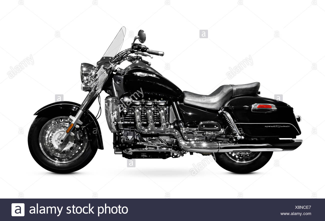 2008 Triumph Rocket III Touring three-cylinder powerful motorcycle isolated on white background - Stock Image