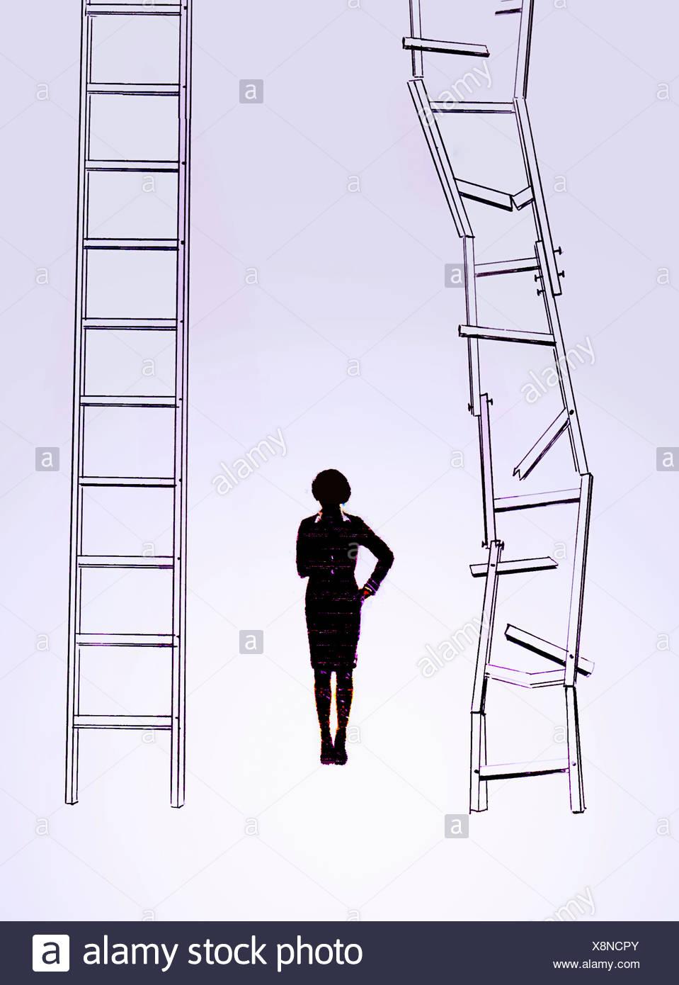 Businesswoman choosing career ladder - Stock Image