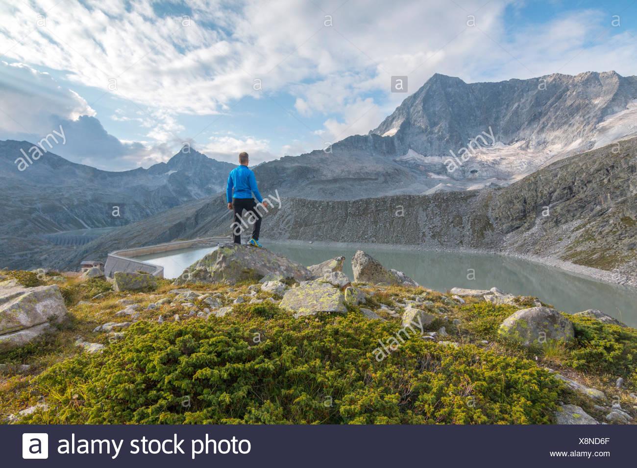 Hicker admire the Adamello Mount. Temù, Val d'Avio (Adamello Park), Brescia province, Lombardy, Italy, Europe Stock Photo