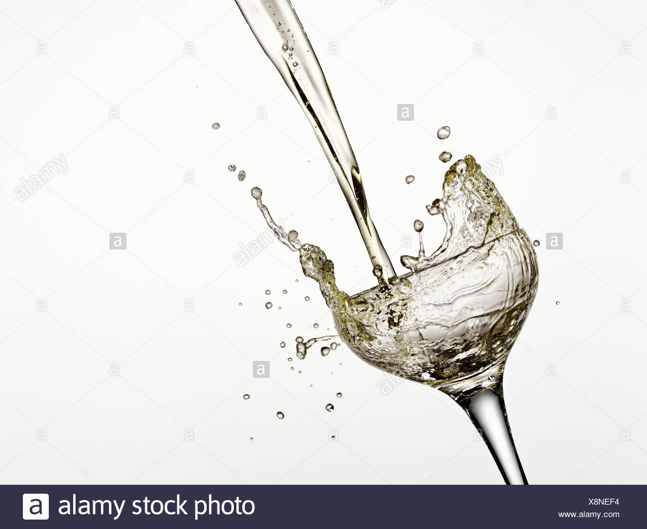 Champagne being poured into glass - Stock Image