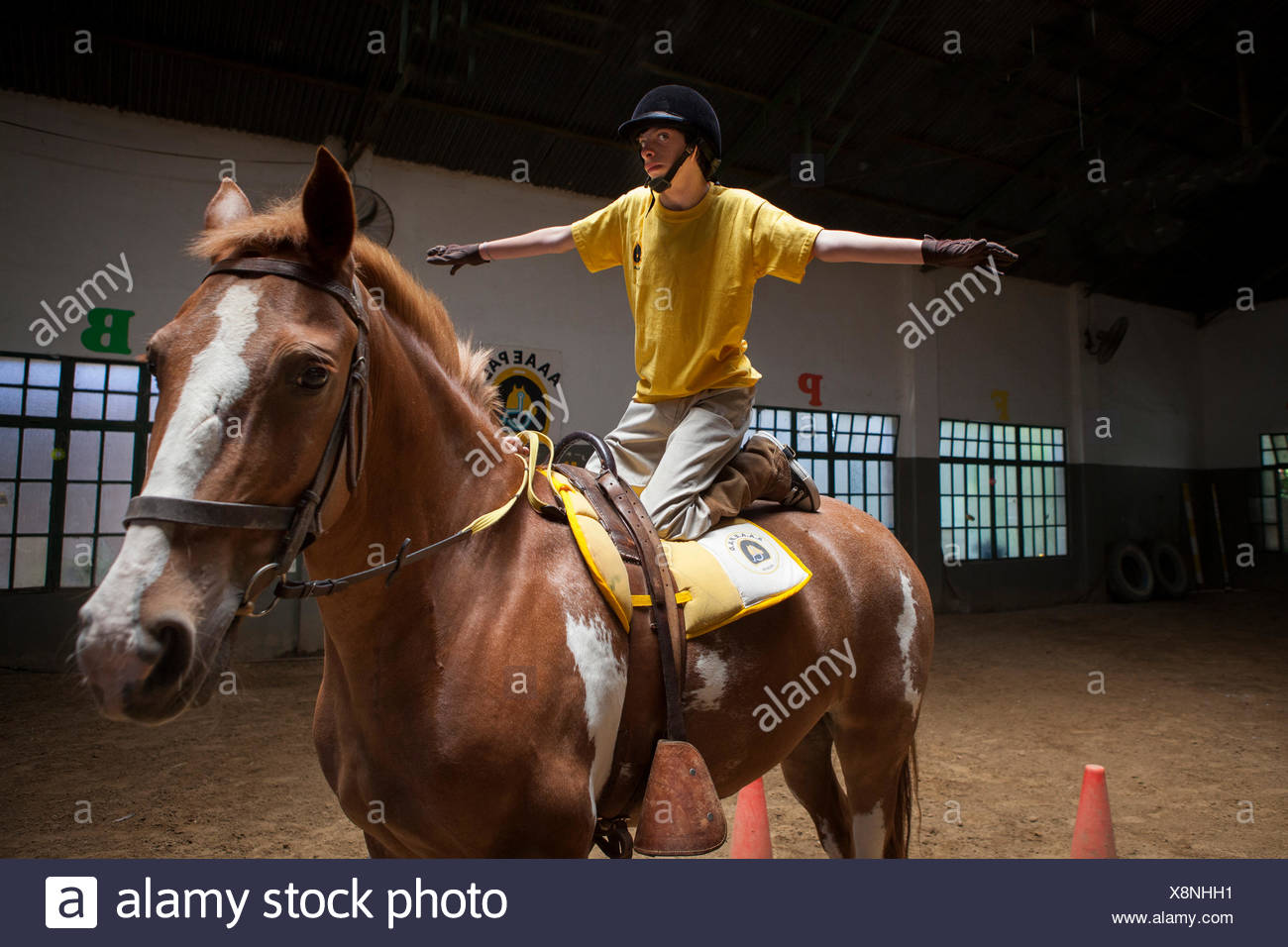 Child performing a balancing act on a horse Emmanuel 13 years with cerebral palsy comes to the center every week for 7 years. He now works three pillars of riding Assisi Balance and Jump. Equitherapy in partnership with the AAAEPAD Association and Ariel P - Stock Image