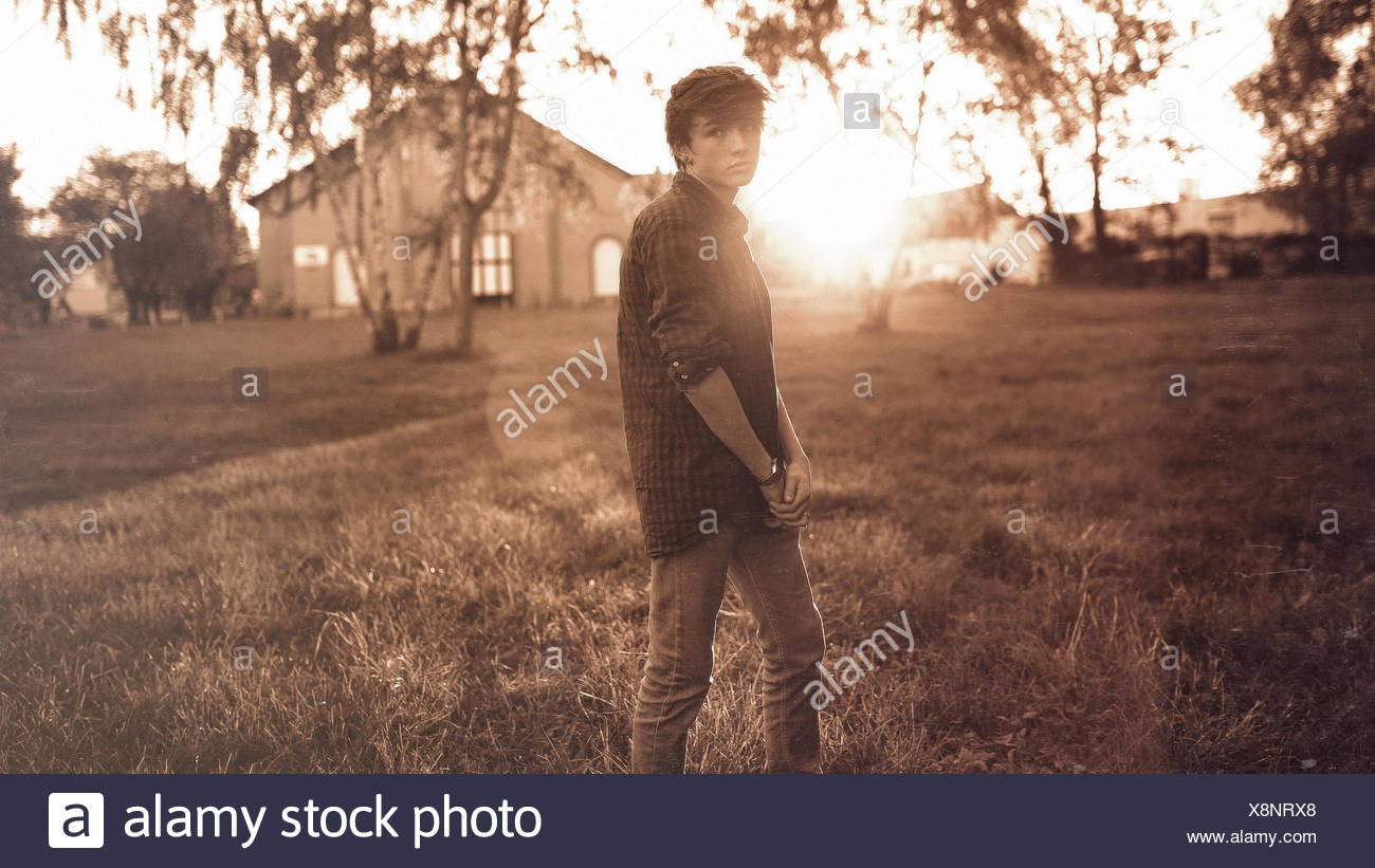 Teenage boy looking gloomy Stock Photo