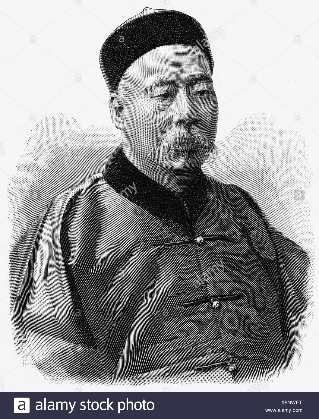 Huan, Lii Hai, second half of the 19th century, Chinese politician, envoy in Berlin, portrait, wood engraving, , Additional-Rights-Clearances-NA - Stock Image