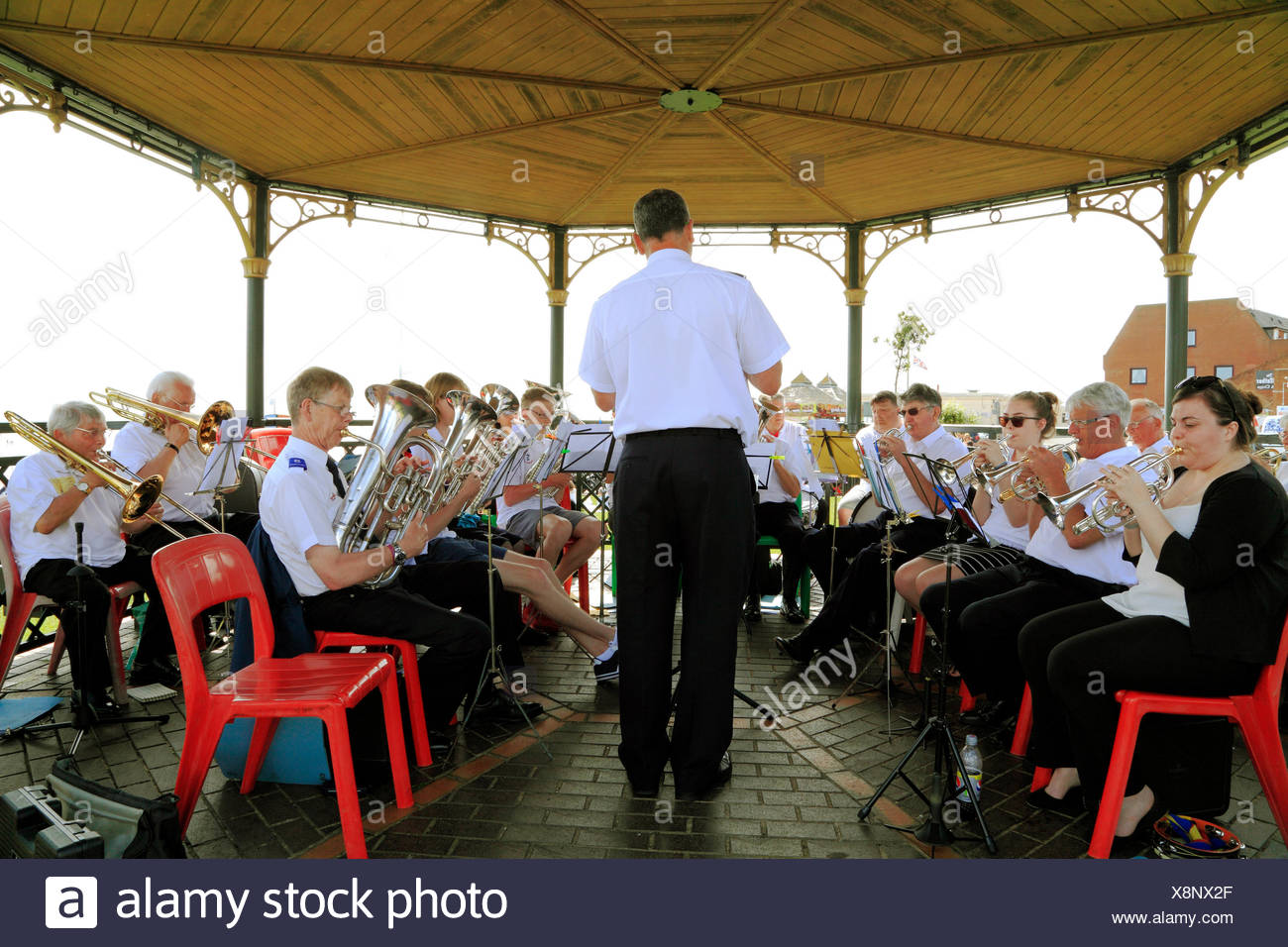 Salvation Army Brass Band, Bandstand, Hunstanton, Norfolk, seaside, entertainment, music, England, UK - Stock Image