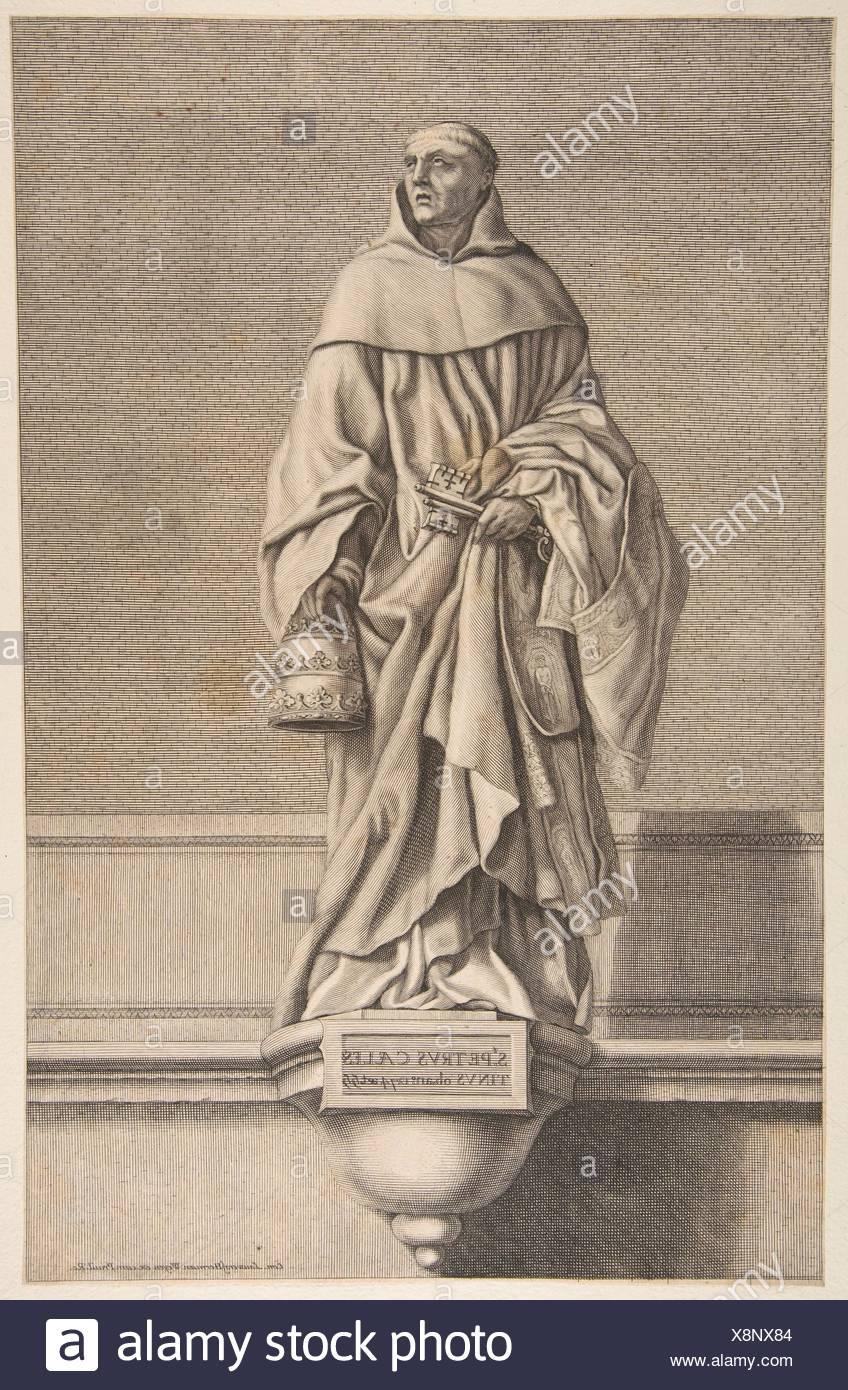 St. Peter Celestine. Artist: Conrad Lauwers (Flemish, Antwerp, 1632-ca. 1685); Artist: After Laurent de La Hyre (French, Paris 1606-1656 Paris); - Stock Image