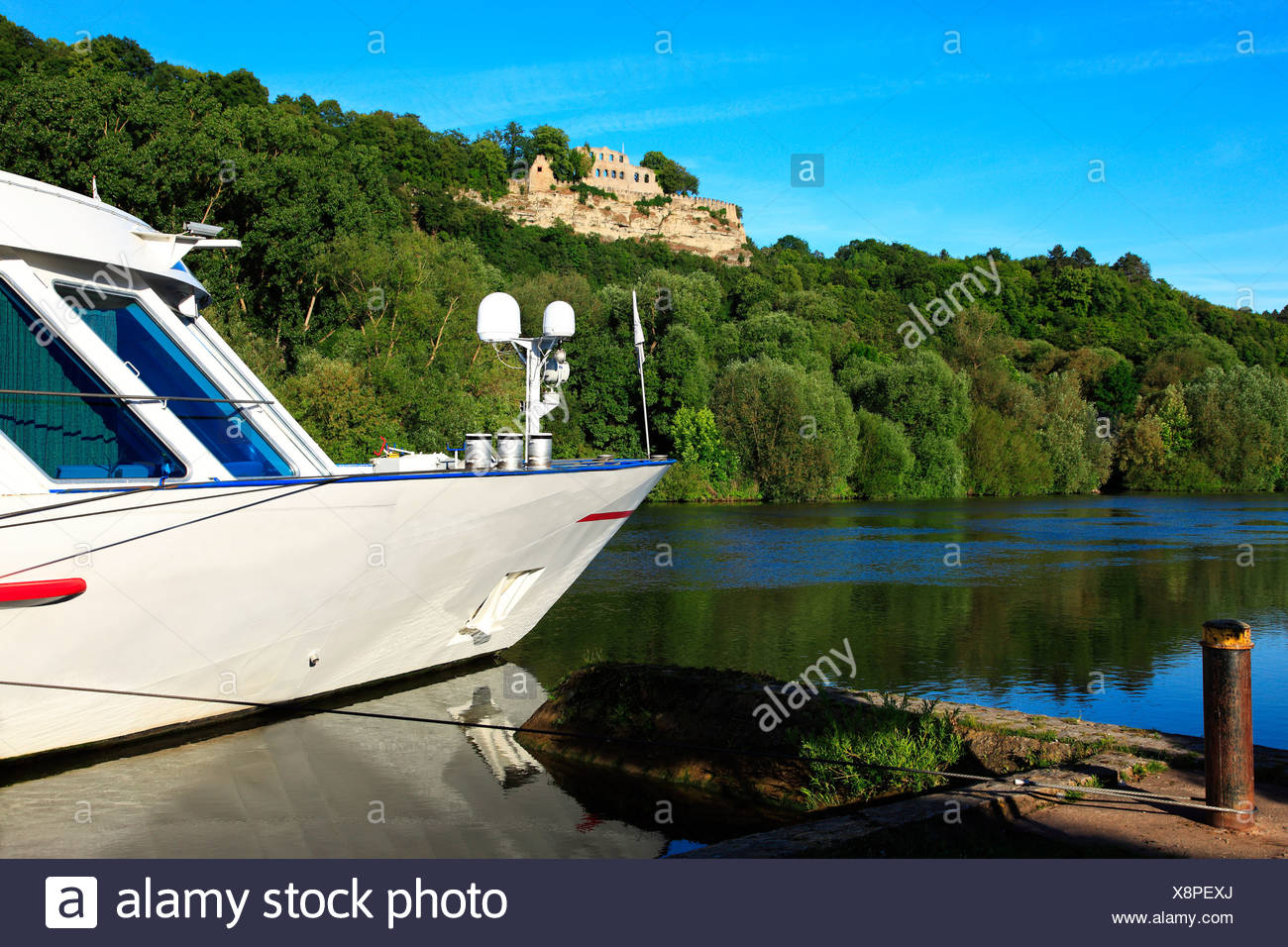 A boat moored on the rhine - Stock Image