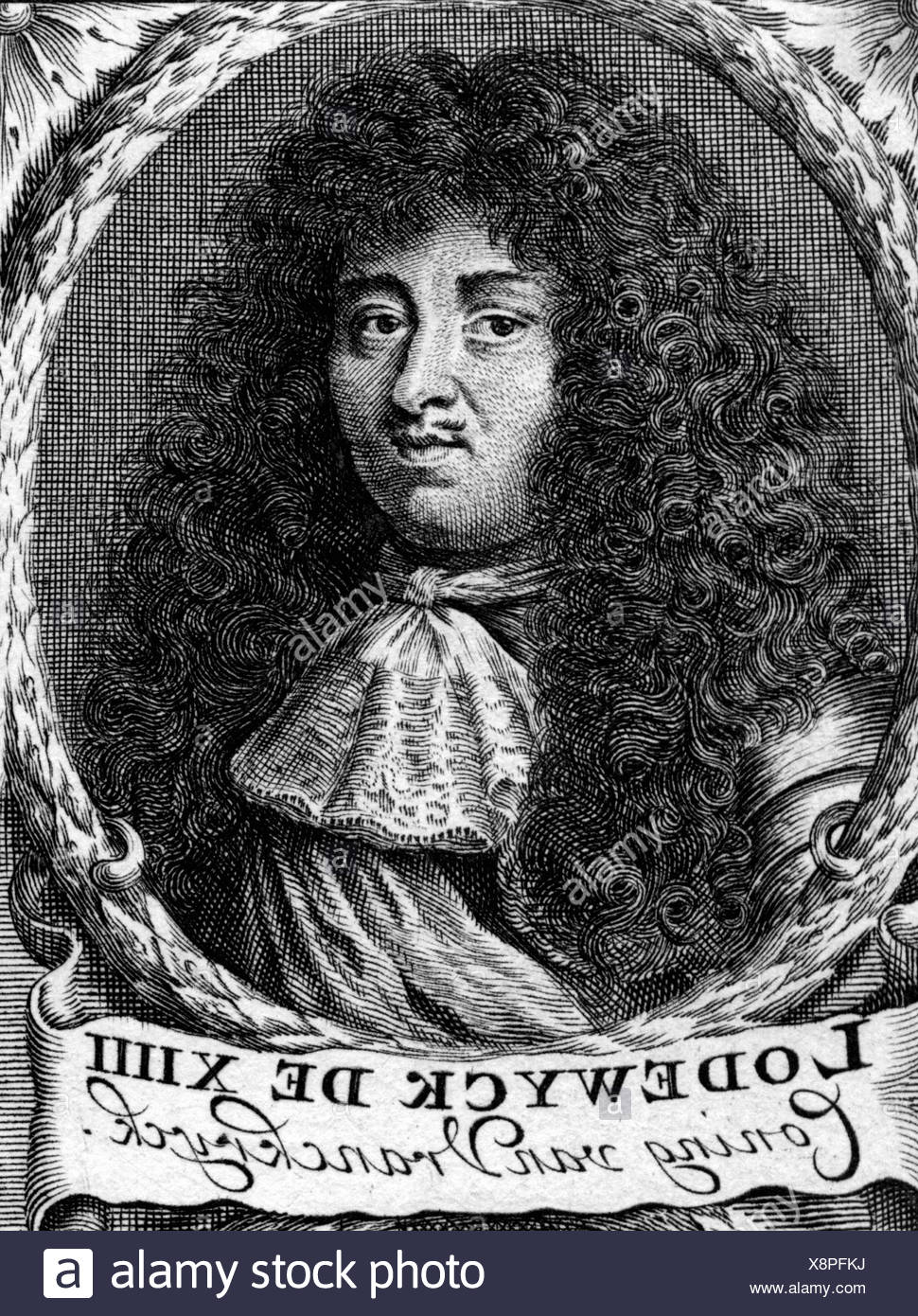 Louis XIV, 5.9.1638 - 1.9.1715, King of France 1643 - 1715, portrait, Dutch copper engraving, 17th century, Artist's Copyright has not to be cleared Stock Photo