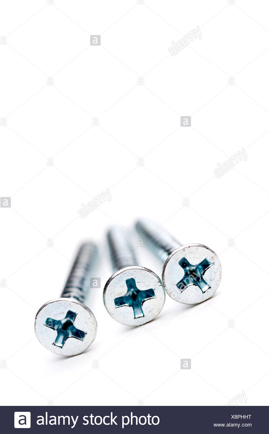 macro close-up macro admission close up view hardware screw metal fasteners - Stock Image