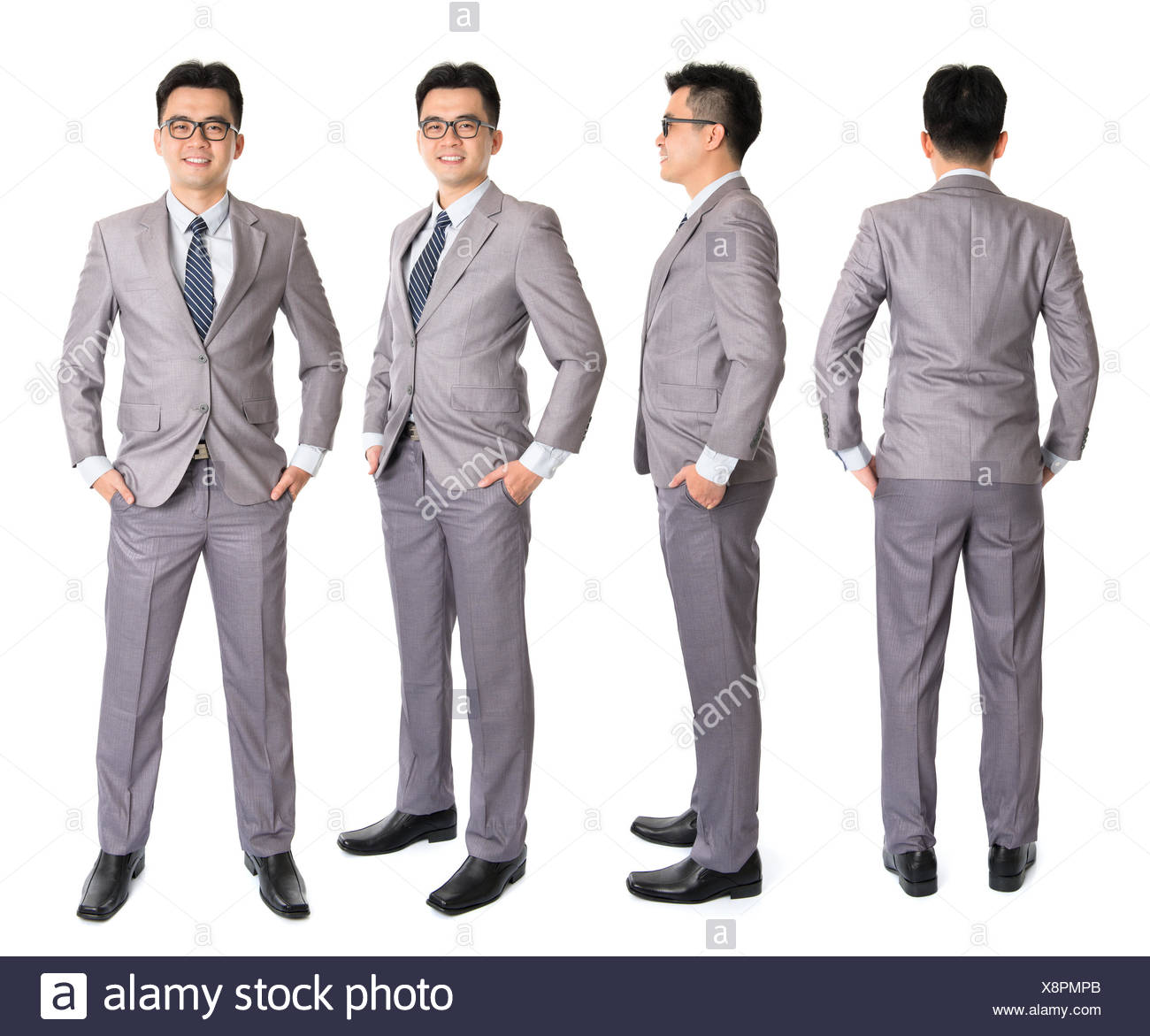 fa449b4d3a7e8 Full body Asian businessman in different angle