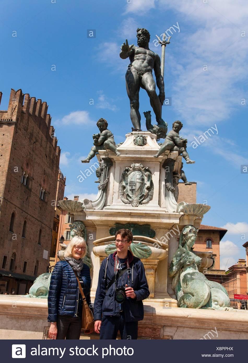 Fontana Nettuno. Bologna, Italy. - Stock Image