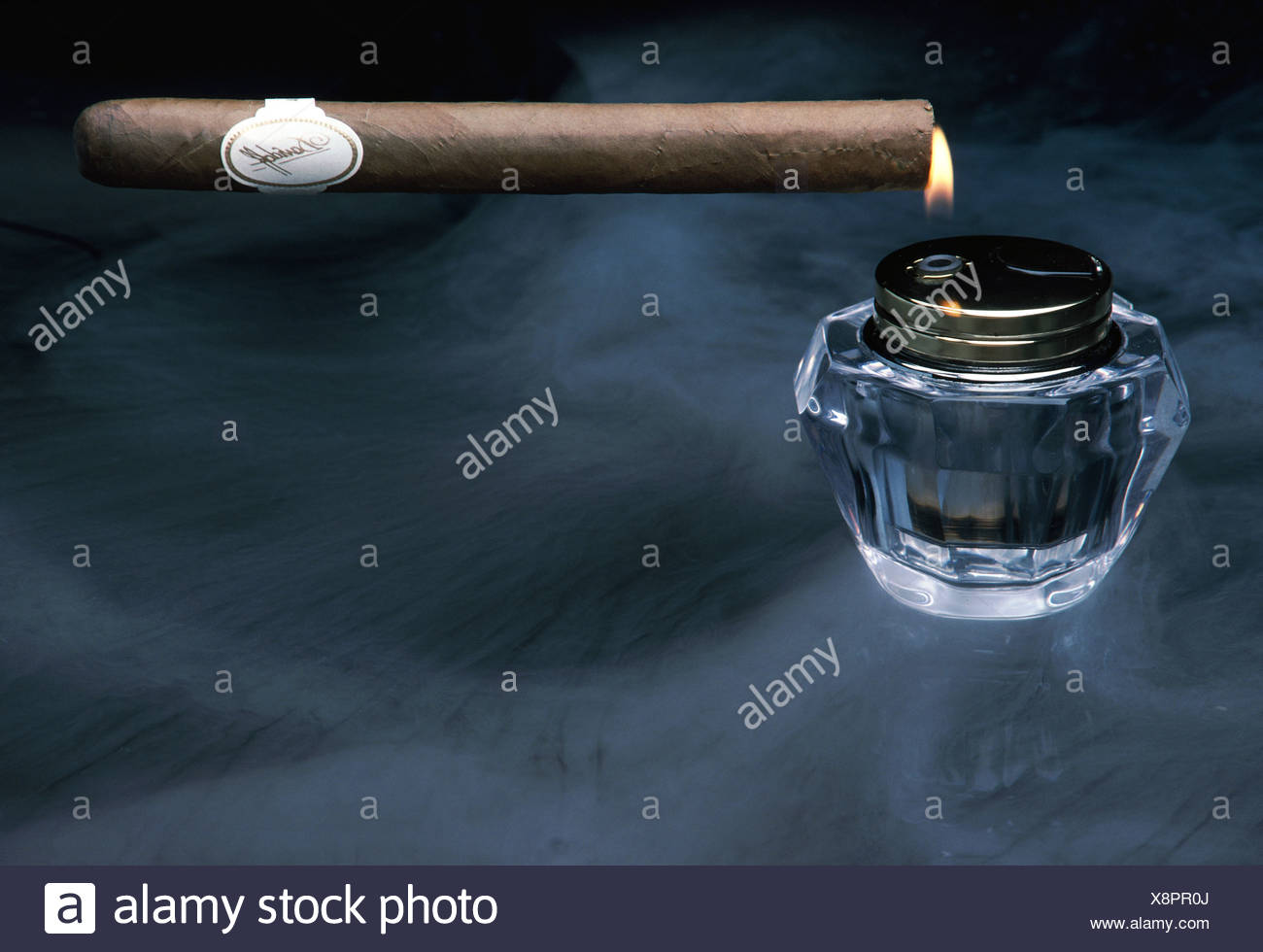 cigar and lighter - Stock Image