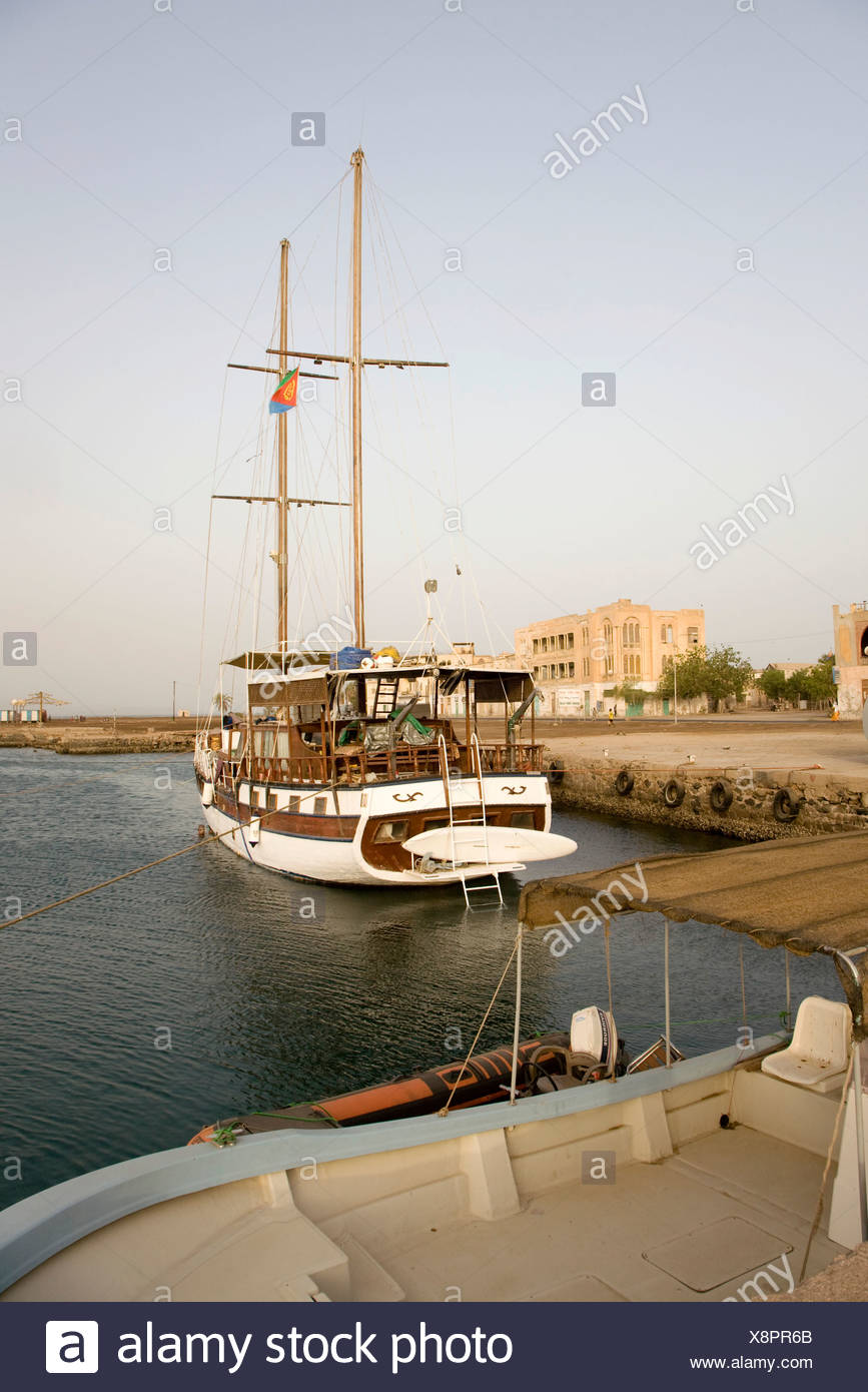 Brigantine in the harbour, Massawa, Red Sea, Eritrea, Horn of Africa, East Africa Stock Photo
