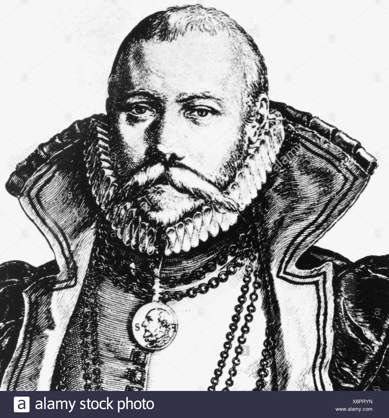 Brahe, Tycho, 14.12.1546 - 24.10.1601, Danish astronomer,  portrait, copper engraving by Jakob de Gheyn, 1587, detail, , Artist's Copyright has not to be cleared - Stock Image