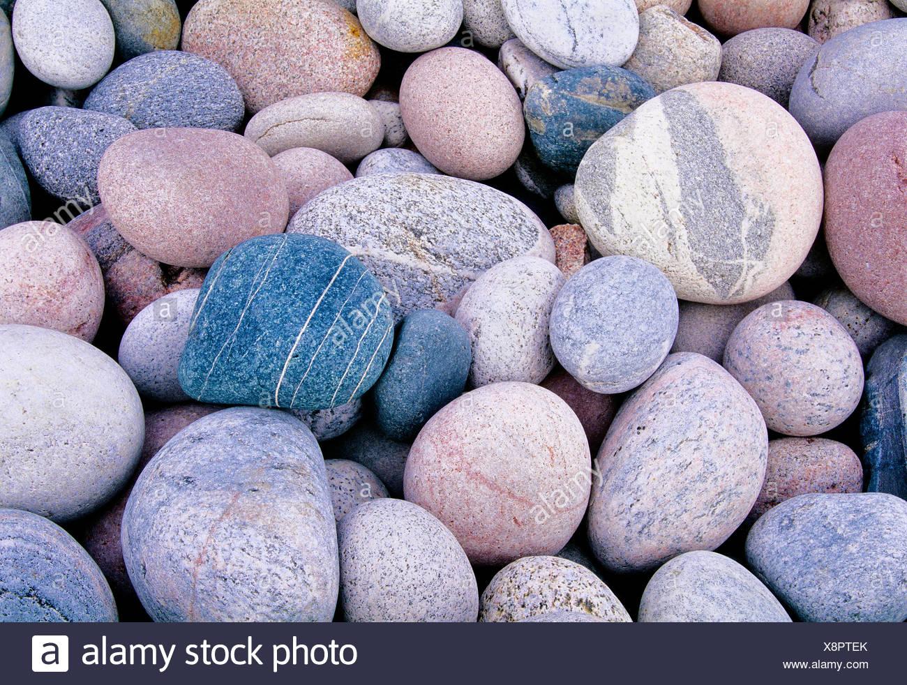 Rounded rocks at Marathon Beach Marathon Ontario Canada - Stock Image