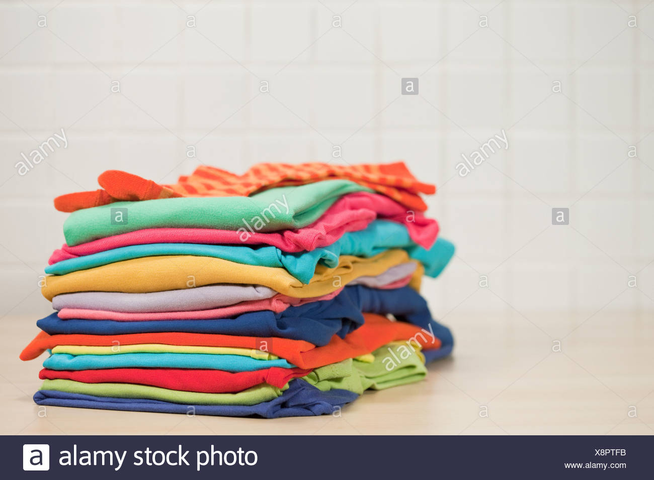 Pile of clean laundry - Stock Image