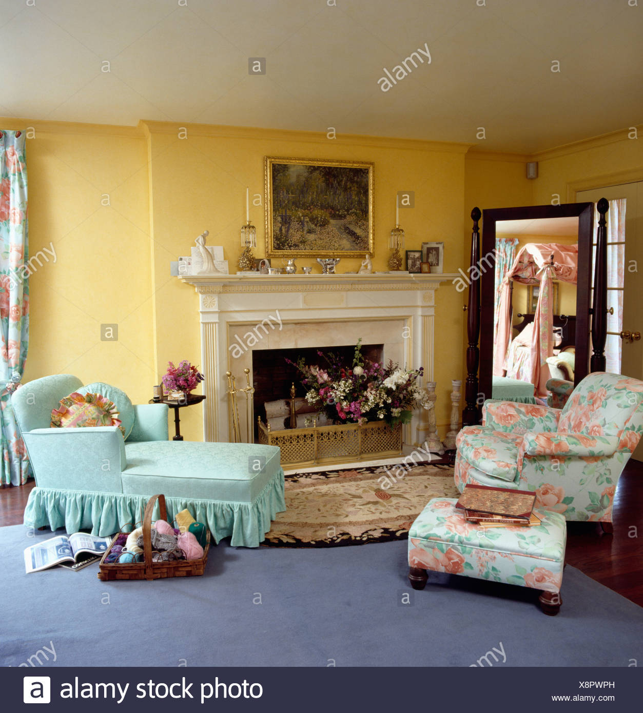 Turquoise Chaise Longue And Floral Patterned Armchair And