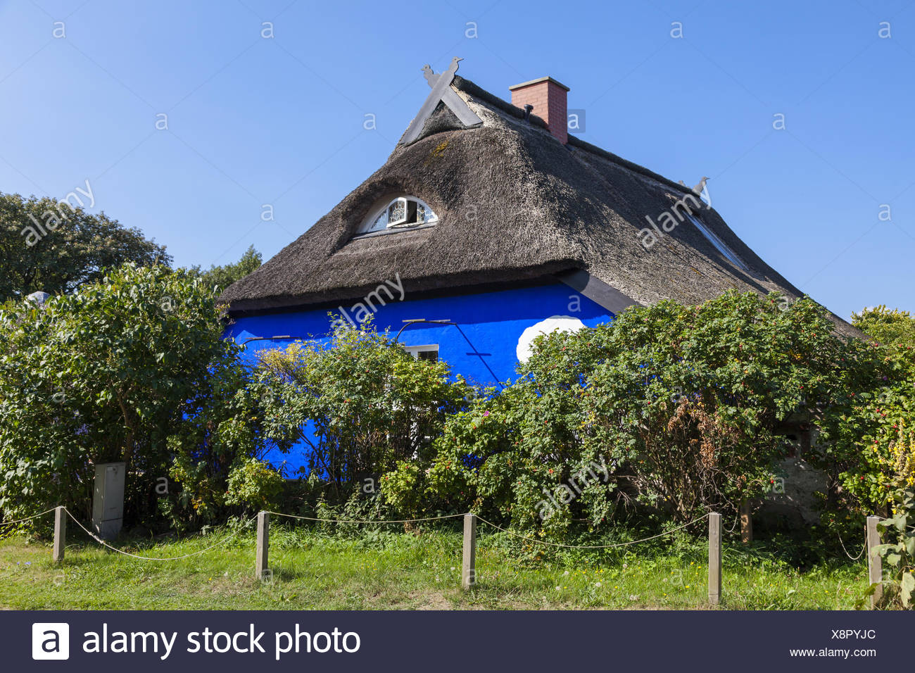 The Blue Barn on Hiddensee Stock Photo