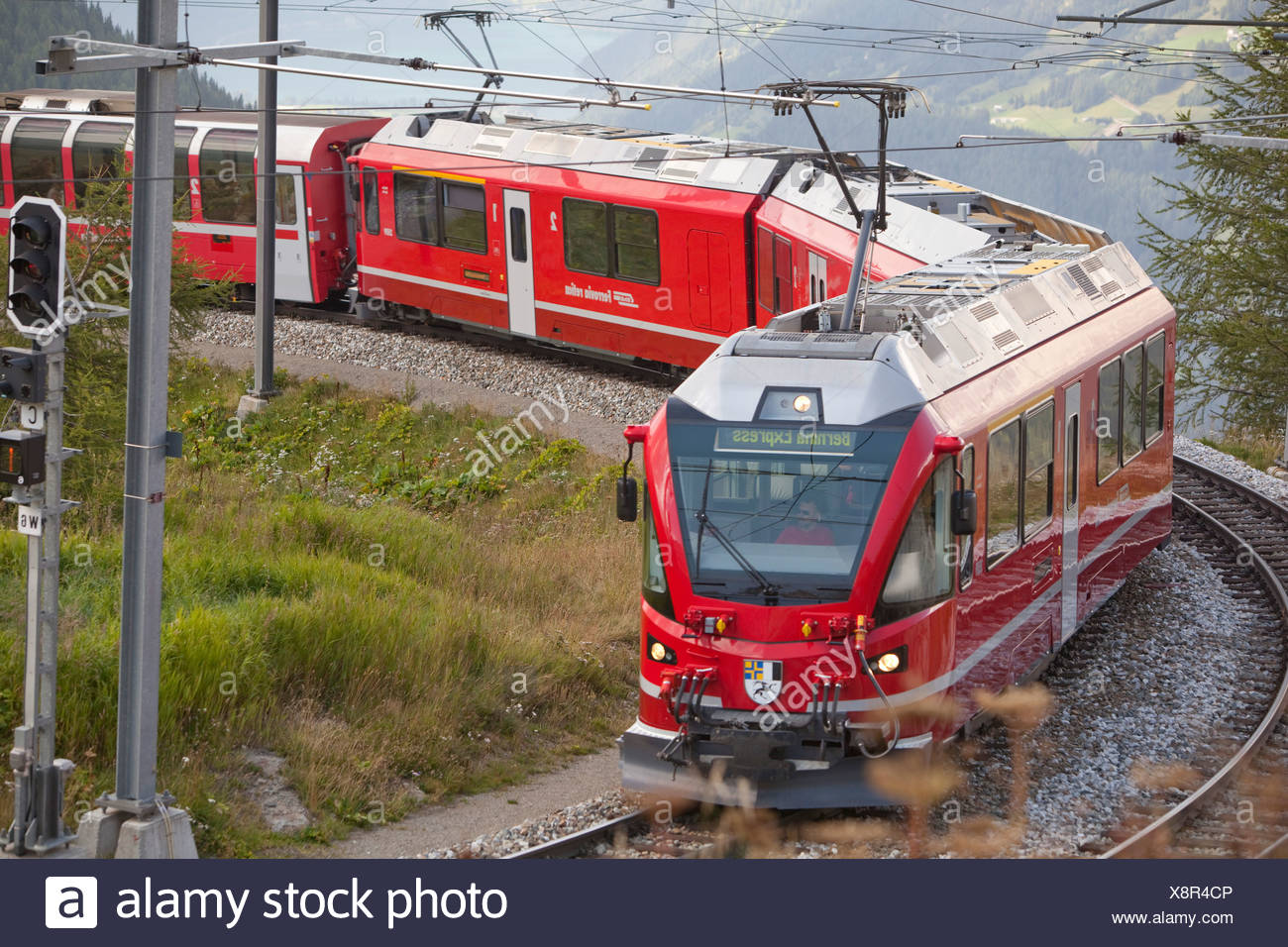 Road, Railway, train, railroad, canton, Graubünden, Grisons, Switzerland, Europe, Rhaetian Railway, Alp Grüm, Berninastrecke - Stock Image