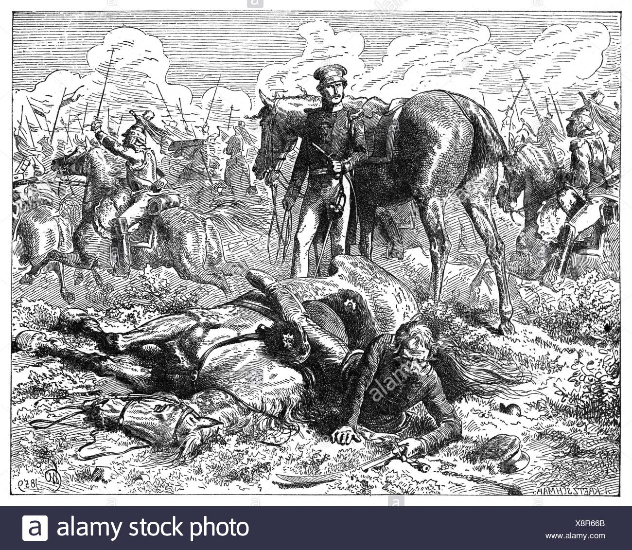 War of the Seventh Coalition 1815, Battle of Ligny, 16.6.1815, field marshal Gebhard Leberecht von Bluecher under his shot horse, is covered by Major August von Nostitz, wood engraving, late 19th century, Additional-Rights-Clearences-NA - Stock Image