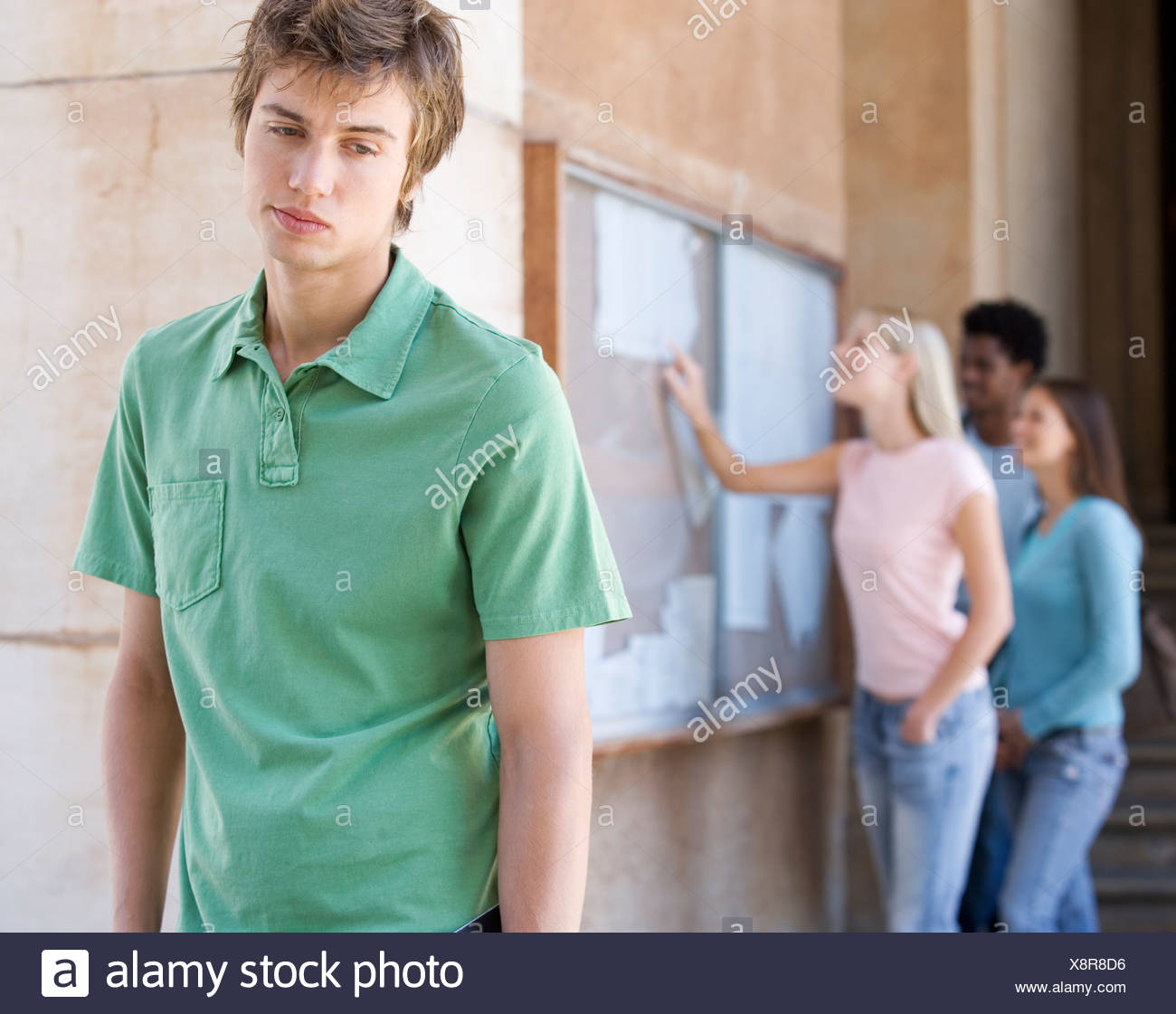 A student disappointed by his exam results - Stock Image