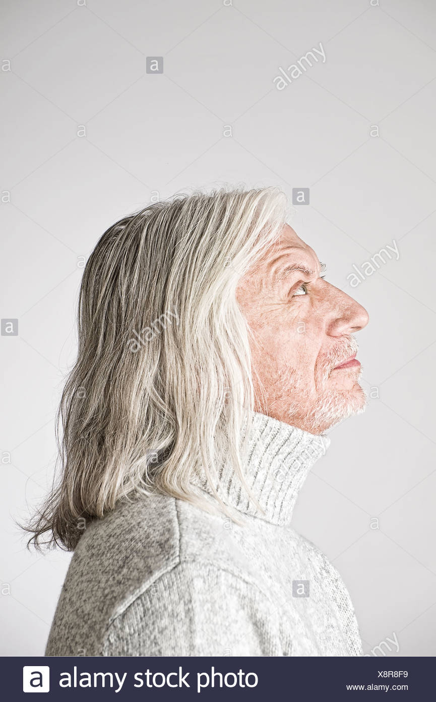 Portrait Of Mature Man Side View Looking Up Stock Photo Alamy