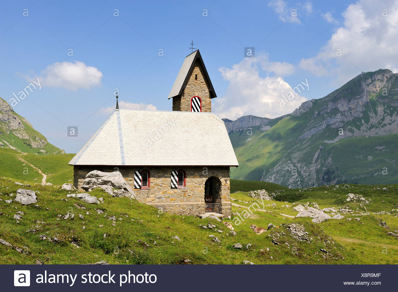 Chapel Maria im Schnee or Church of Our Lady of the Snows from 1903, Alpine hamlet Meglisalp at 1517m altitude in the Appenzell - Stock Image